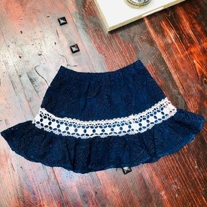Alexis Mitchell Lace Ruffle Mini Skirt in Navy